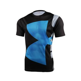 Wholesale and retail superhero captain America men T shirt compressed armor base layer heat in top sports fitness shirt with short sleeves