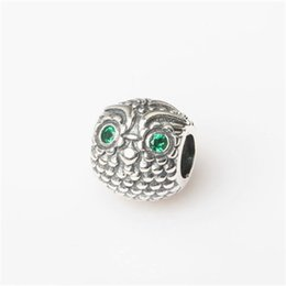 Wholesale Crystal Eye Owl Charm Bead Authentic S925 Silver Fashion Women Jewelry European Style For DIY Bracelet PB306