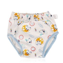 Wholesale 2pcs Baby Cotton Training Pants Reusable Cloth Diapers White with Toy car pattern