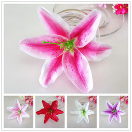 "50Pcs 13cm 5.11"" Simulation of lily head Artificial Fabric Silk Lily Flower Head For DIY Wedding Wall Arch Decorative Hat Accessoires"
