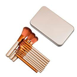 Professional 12pcs Makeup Cosmetic Facial Brush Kit Metal Box Brush Sets Face Powder Brush with N3 Logo DHL Fast Shipping