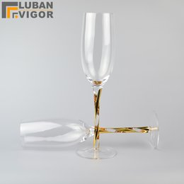 Wholesale Unique K gold thread handle Lead free Crystal wine glass goblet Champagne glasses gifts for firend Home furnishings Barware