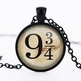 Wholesale 3 colors Harry Potter Necklace platform Collier cabochon glass Harry Potter Jewelry from Hogwarts Express HP Jewelry
