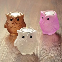 Wholesale Creative Luckly Owl Ancient Greek Goddess Crystal OWL Candle Holder Candlestick Dinner cute Candlestick Valentine s Day Party