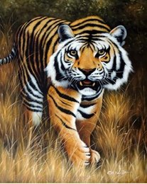 Wholesale Bengal Tiger Big Cat Endangered Species Hunting Stalking Pure Hand painted Animal Art Oil Painting Canvas any customized size accepted John