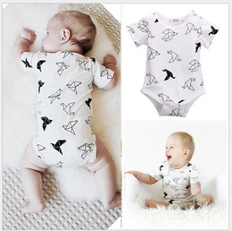 2016 Infant Baby Paper Crane Printed Rompers Toddler Boys Girls Summer Short Sleeve Jumpsuits Newborn Babies White Onesies Climbing Clothing