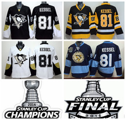 Pittsburgh Penguins 81 Phil Kessel Ice Hockey Jerseys 2016 Cheap Winter Classic Black White Yellow 2016 Champions Final Patch