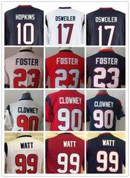 Wholesale Kids Youth NIK Game Football Texans Osweiler Cushing Hopkins Foster Clowney Watt Blue Red White Jerseys Mix Order