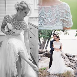 2018 Art Style Short Sleevs Wedding Dress Beads Lace Tulle Floor Length Boho Bridal Gown with Crystal Belt