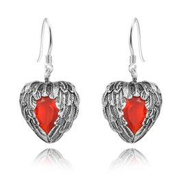 fashion jewelry Vintage Ruby Earrings 925 Sterling Silver Heart Wing Shape Women's Drop Earrings chandelier long earring
