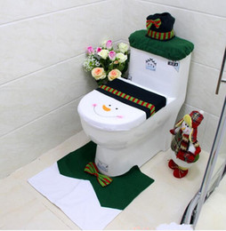 Wholesale Cheap Merry Christmas Decoration Snowman Toilet Seat Cover Rug Bathroom Set Best Christmas Decorations Gifts