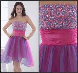 Wholesale Strapless Neck Light Purple And Red Mini Prom Dress Sequins Dress Beadings Around Crystals For Girls Hot Slae Bling Homecoming Dress