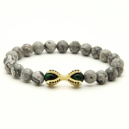 Wholesale 10pcs Grey Picture Jasper Stone with Tiger Eye Beads Micro Inlay Black CZ Beads Eagle ClawHot Sell European Style Bracelets