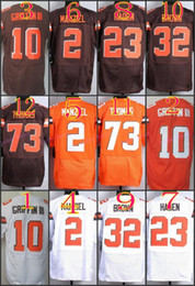 Wholesale NIK Elite Football Stitched Browns Robert Griffin III Manziel Haden Brown Thomas White orange Jerseys Mix Order