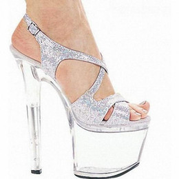 Customize Colorful Sexy High-heeled Shoes Crystal Sandals Shoes 7 Inch Stiletto Clear Platforms Silver Glitter Sexy Shoes D0214