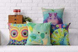 Creatures Watercolor Painting Hippopotamus Koala Peacock Owl Art Painting Pillow Massager Decorative Pillows Gift Home Decor