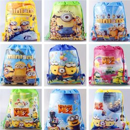 Wholesale 2016 Kids Minions Knapsack Nylon Pouch Stationery Storage Bag Drawstring Pocket Bags Toys Organization Despicable Me Cartoon Hangbags