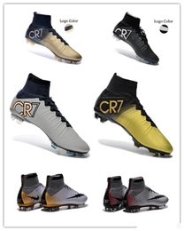 2016 Original CR7 Superfly Soccer Shoes Mercurial Superfly FG Indoor Soccer Cleats IC TF High Top cristiano ronaldo Football Boots black