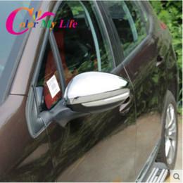 Coche espejo decorativo en venta-Caja decorativa de reserva trasera del cromo de la vista posterior del espejo retrovisor de la venta para 2014 2016 Accesorios del coche de Peugeot 2008 2016