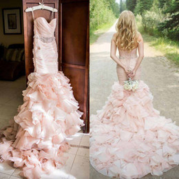 Gorgeous 2016 Blush Pink Organza Mermaid Wedding Dresses Cheap Spaghetti Ruched Ruffles Fish Tail Chapel Bridal Gowns Custom Made EN414