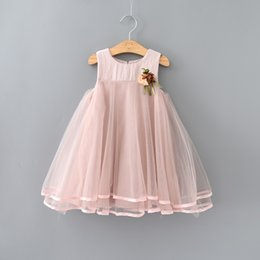 Wholesale Baby Girls Lace Party Dresses Kids Girl Mesh Princess Dress with Floral Brooch Girl Summer tutu Dress Children s Clothing