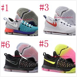 Wholesale New Kevin Durant KD Men WHITE UNIVERSITY RED BASKETBALL Shoes Original Sneaker sports shoes size APP only US