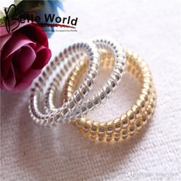Wholesale 100pcs golden silver telephone rope Hair Bands Hair ties Hair ring hair wear Hair Accessories for children girl women amazon extra gift