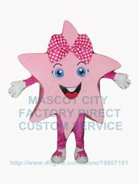 Wholesale the pretty pink star girl mascot costume adult size kids activities performing costumes holiday carnival fancy dress kits