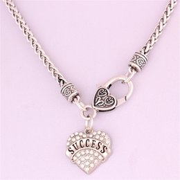 Drop Shipping New Arrival rhodium plated zinc studded with sparkling crystals SUCCESS heart pendant wheat chain necklace