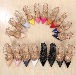 Wholesale Leather Sandals Pearls - LuxuryRivets PumpsBrand Designer Metal Rivets Leather Heel Shoes T-Strap Pumps Women Sandals High Heels Ladies Rivets Shoes
