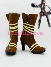 Wholesale Newest Custom Made American Movie Brown Batman Arkham Asylum Harley Quinn Cosplay Shoes Long Boots For Halloween