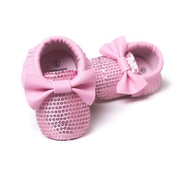 Wholesale Fashion Sweet Infant Toddler Newborn Baby Girl Princess Bling Bling Big Bow First Walkers Baby Moccasins Soft Moccs Shoes T