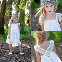 Cute flower girls dresses for weddings square neck girls formal dresses criss cross straps lace party gowns