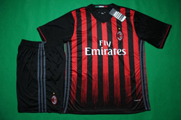 Wholesale Benwon AC Milan home soccer jersey short sleeve thai quality soccer uniforms men s athletic football training sports set soccer kits