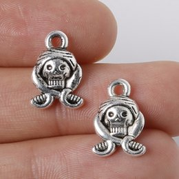 Free shipping 10pcs 10x15mm Zinc Alloy Antique Silver Skull DIY Charms Pendants jewelry making DIY