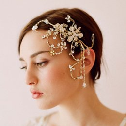 Wholesale 2016 The new high end hand beaded fringed flowers comb hair accessories bridal headdress