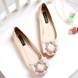 Wholesale 2016 Fashion designer women flats shoes Square toe Crystal Diamond Bigger size Plus flat heels platform Cheap online stores