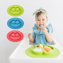Wholesale Happy Mat Silicone Children Kid Silicon Bowl Tableware Placemat with Plate in One Baby Feeding Learning Cups Ellipse Dishes Set Colors DHL