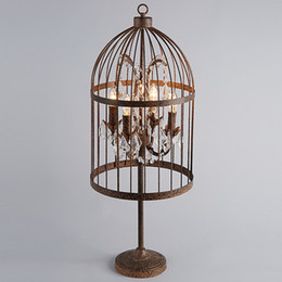 Wholesale Loft Industry Style Retro Bar Cafe Engineering Sample Room Table Lamp Iron Crystal Birdcage Table Lamp