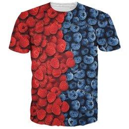 Wholesale New arrive women men summer casual tshirt tee shirts berries delicious fresh raspberries blueberries d t shirt tops camisetas
