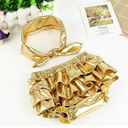 Fashion Baby Bloomers set Golden Newborn boys girls Bloomer Metallic Ruffle Diaper Cover Infant Toddle Pants baby bloomer and headband set