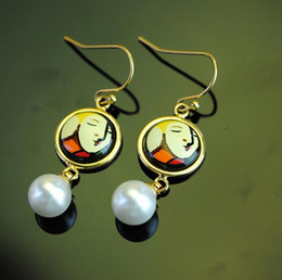 Dreams and Roses Series drop earrings 18K gold-plated enamel earring for woman Top quality pearl earrings for a gift