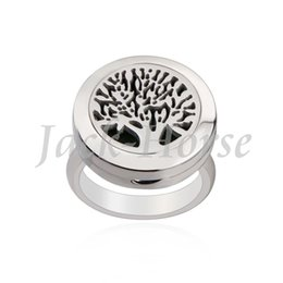 Stainless Steel Essential Oil Diffuser Ring tree of life Perfume Aromatherapy Ring magnet locket Ring With Pad