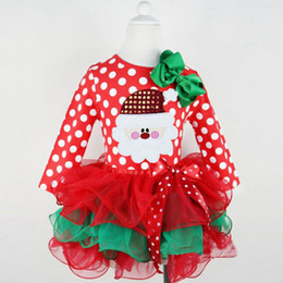 Wholesale 2017 Europe And The United States The New Fashion Girls Christmas Dots New Year Net Yarn Bow Red Green Dress Coat Skirt C