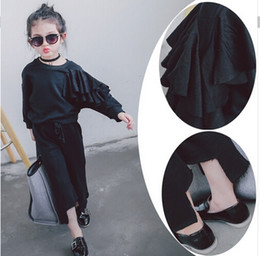Wholesale The child s fall new girls Korean cultivating lotus leaf edge set piece sweater bellbottoms