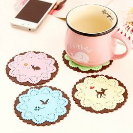 New Design Round Silicone Coasters Cute Cartoon Tea Cup Mat Home Drink Placemat Tableware Coffee Coaster 07#