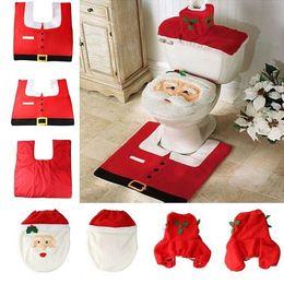 Wholesale 2016 Hot Set pc Fancy Happy Santa Toilet Seat Cover Rug Bathroom Set Decoration Rug Christmas Decoration
