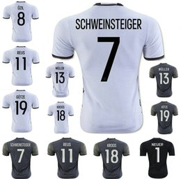 Wholesale 2016 HUMMELS Home white Soccer jersey Top Thai OZIL REUS MULLER GOTZE KROOS SCHWEINSTEIGER Neuer germany away Football shirt