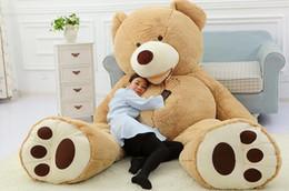 200CM 78''inch gigantesque peluche ours en peluche grand gros grosse peluche marron peluche douce jouet enfant enfant poupée fille cadeau de noel à partir de géant ours brun stuff toy fabricateur