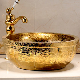 Wholesale Golden Ceramic basin The stage basin